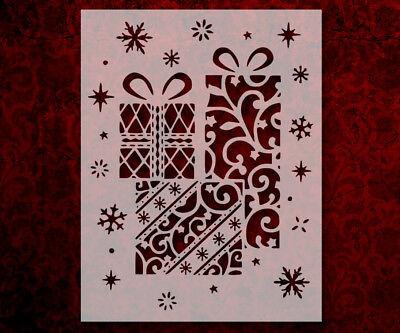 "613 Santa Sleigh Reindeer Gifts Christmas  8.5/"" x 11/"" Stencil FAST SHIPPING"