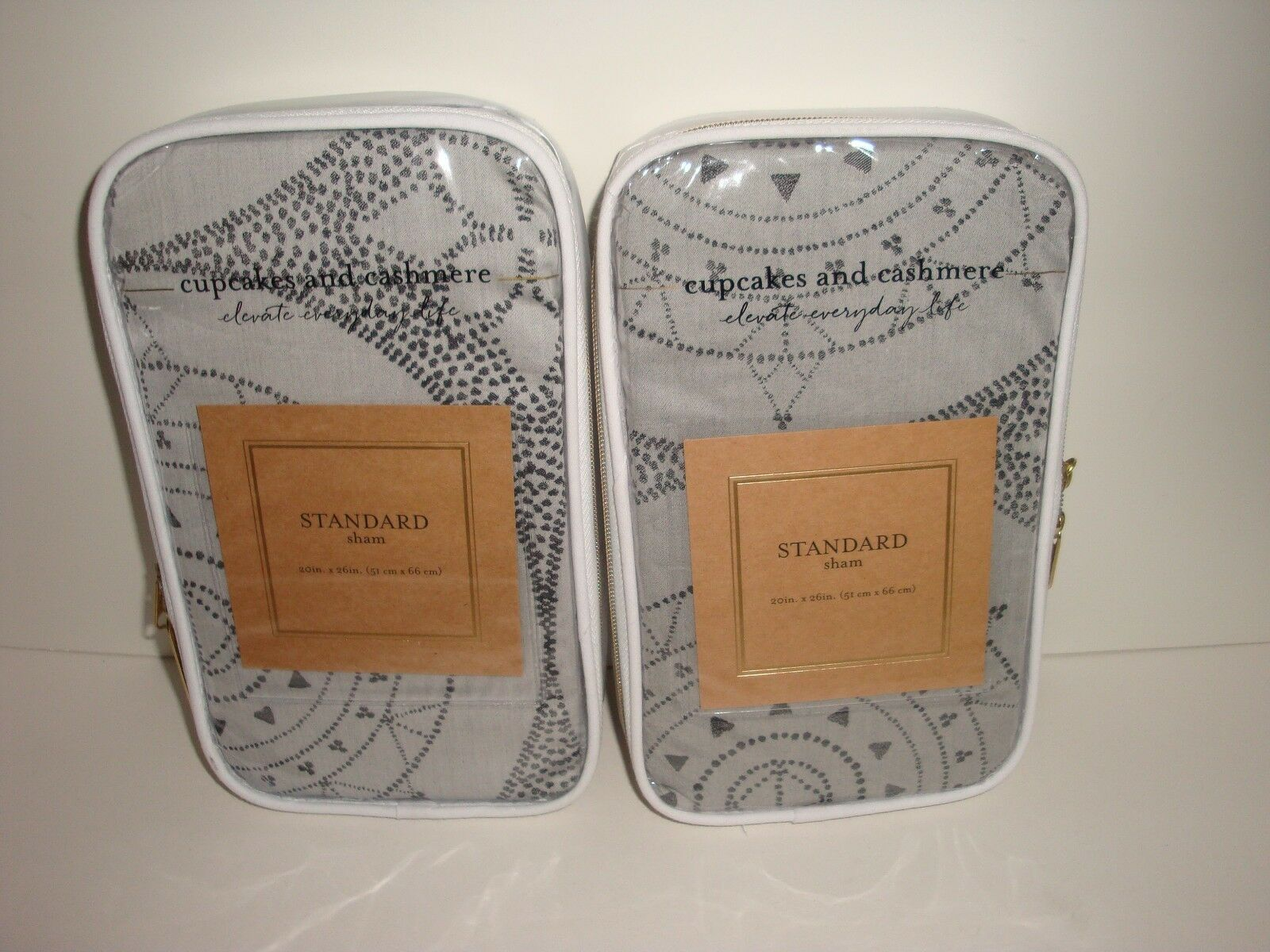 Cupcakes and Cashmere S 2 Dotted Medallion Standard Shams NIP Grey