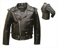 Since 2001 Buffalo Leather Mens Motorcycle Jackets Full Sleeve Zip Out Liner