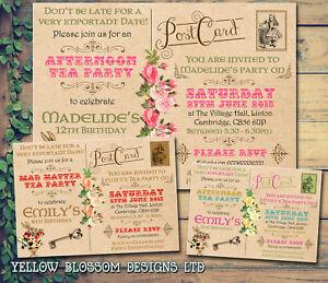 Details About 10 Afternoon Tea Vintage Wonderland Alice Personalised Birthday Party Invitation