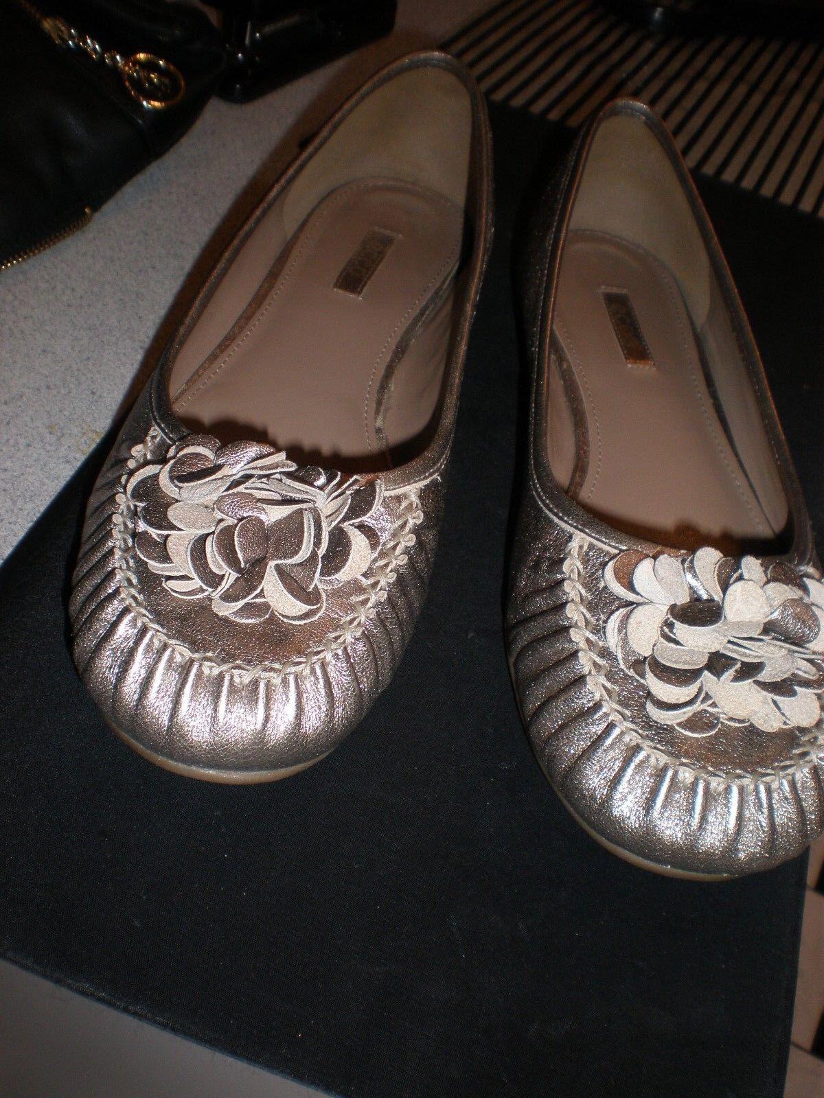 NEW ECCO femmes Ballet Flats 10  EUR 41 Metallic Pewter Slip On chaussures MOCCASINS