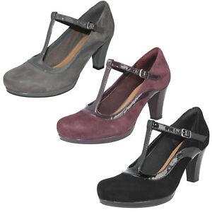 Detalles de Mujer Clarks Ante T Hebilla Elegante Formal Oficina Zapatos de Salón Coro Pitch