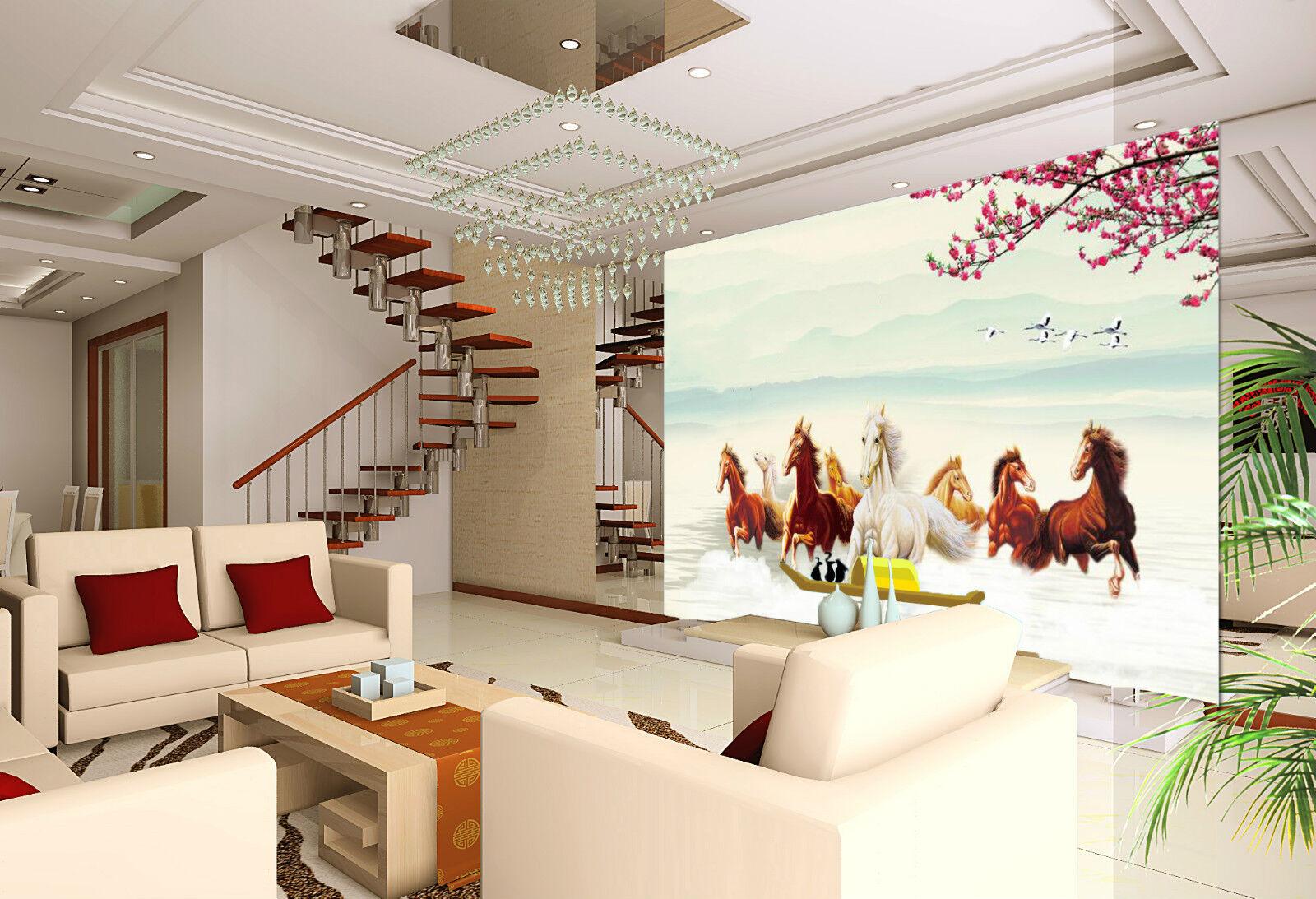 3D Cheval Galop 252 Photo Papier Peint en Autocollant Murale Plafond Chambre Art