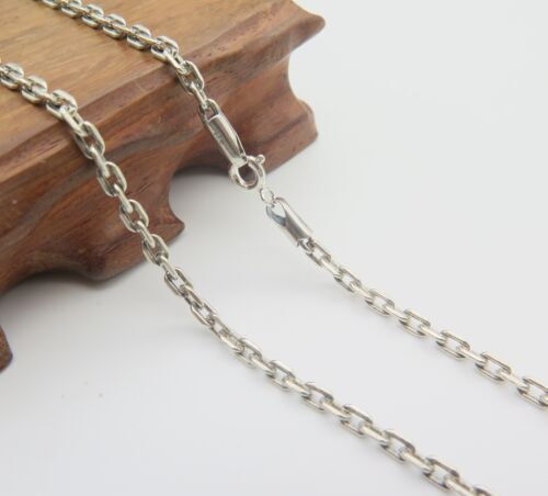 Pure 925 Sterling Silver Necklace 3mm Cable Link Chain Necklace 45cm to 75cm