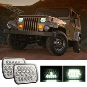 2x-300W-5X7-034-DRL-LED-Headlight-6000K-Fit-For-Jeep-Cherokee-XJ-Wrangler-30000LM