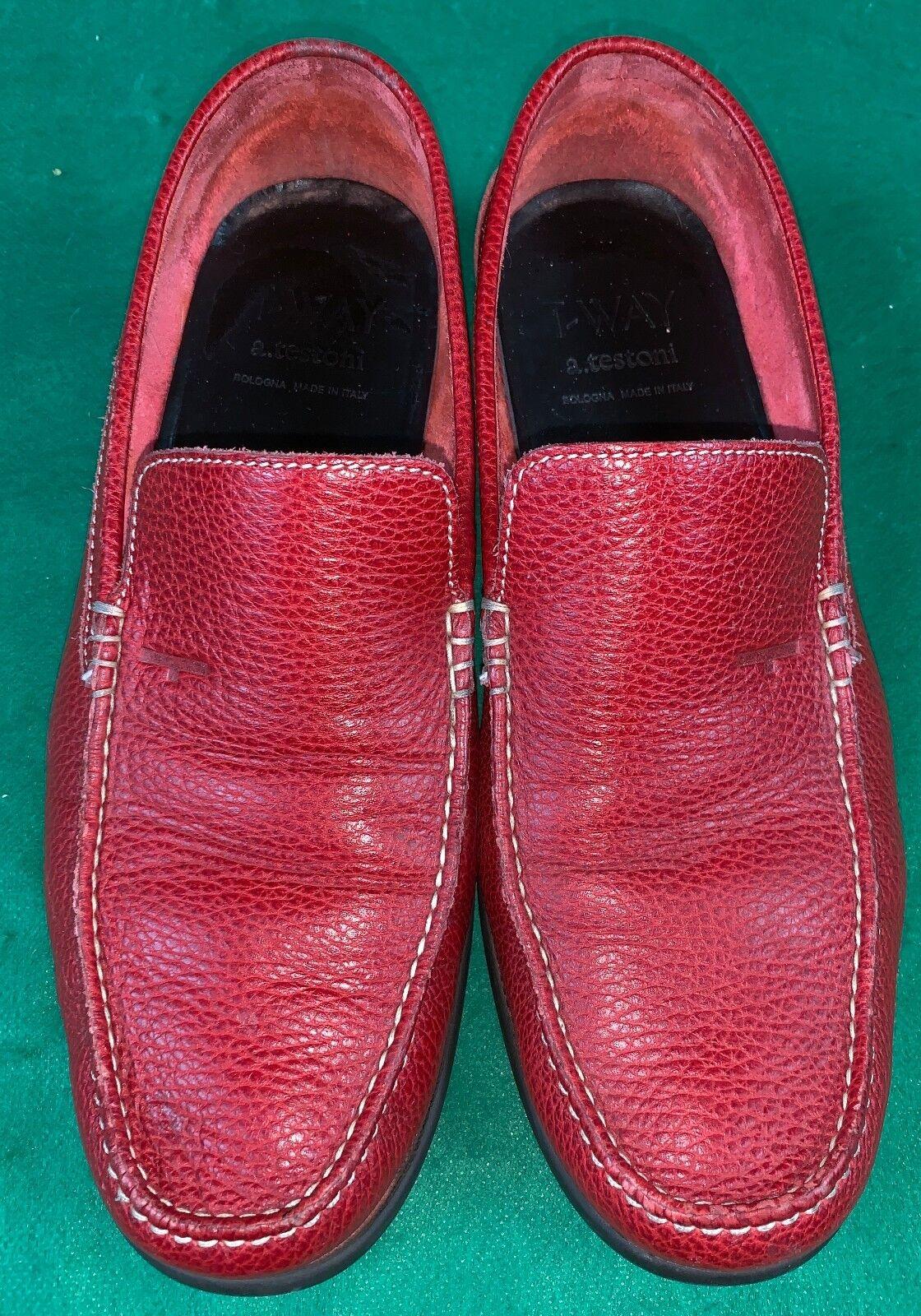 A. Testoni Rojo Sin Cordones Hombre Mocasines Usado