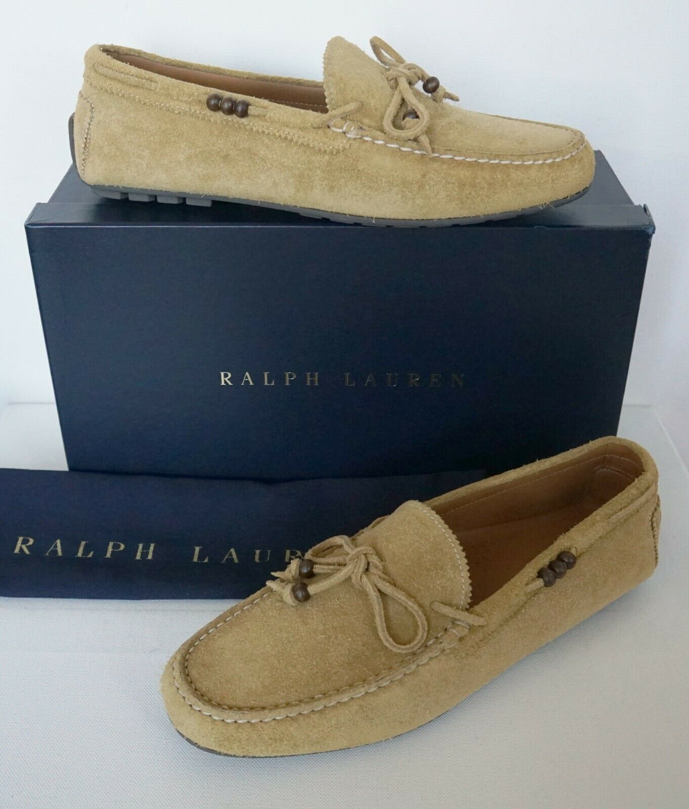 RALPH LAUREN PURPLE LABEL RANDEN Suede VENETIAN DRIVING Loafer shoes US-11D EU44