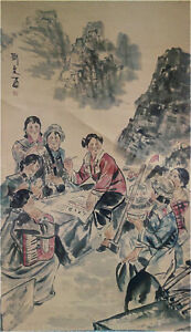 Rare-Chinese-Painting-amp-Scroll-On-Silk-034-Figure-034-By-Liu-Wenxi-WEDE