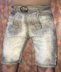 Herren-kurz-Lederhose-Trachten-lederhose-mit-Guertel-und-Traeger-Gr-46-bis-60