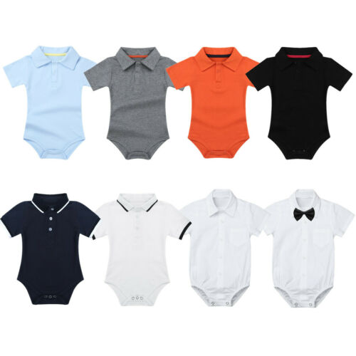 Baby Boys Girls Short Sleeve Lapel Shirt Collared Bodysuit Romper Vest Outfits