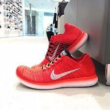 831069-601 Men's Sz 10 Nike Free Run RN Flyknit Bright Crimson/White