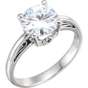 14K-White-8mm-Round-Brilliant-Cut-Forever-One-Moissanite-Engagement-Ring-NEW