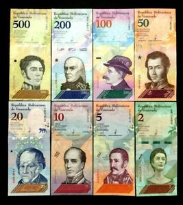 Venezuela-Bolivares-Set-of-8-Banknotes-World-Paper-Money-UNC-Currency-Bill-Note