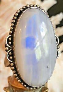 """LARGE 1 1/2"""" Blue Rainbow Moonstone Ring Oval Beaded .925 Sterling Silver Size 7"""