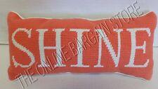 Pottery Barn Teen Word Collection SHINE Throw Toss Sofa Chair Pillow Coral 7x15