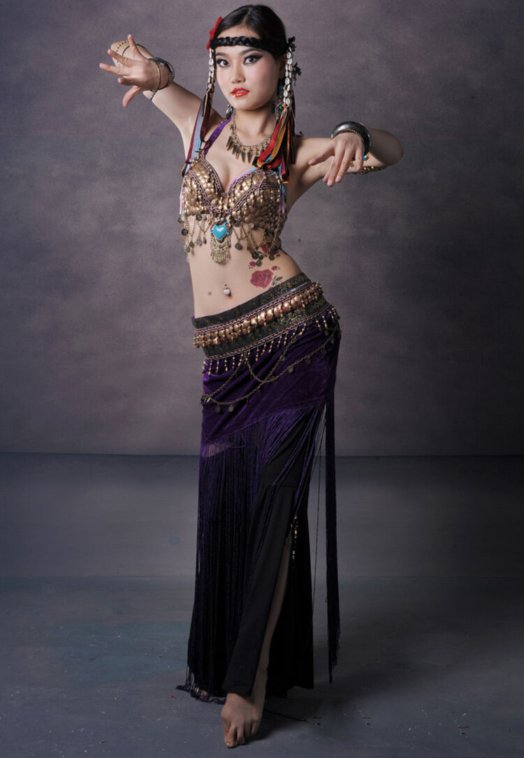 D025 Costume Danse Orientale Tribal Belly Vintage Danse du ventre Belly Tribal Dance Ensemble f50a32