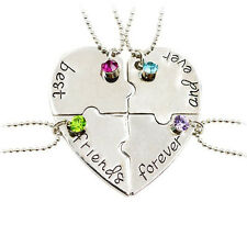 Hot 4Pcs/Set Best Friends Forever And Ever Necklace Heart Puzzle Pendant Jewelry