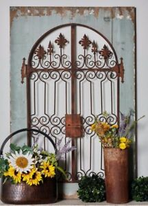 Image Is Loading Distressed Vintage French Country Wood Metal Garden Gate