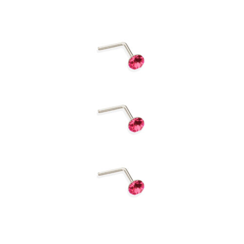 Set of 3 sterling silver 2.8mm round crystal nosestuds nosestud nose stud