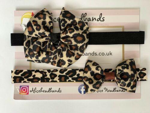 Bebé niñas pequeñas cinta de Gato Estampado de Leopardo coinciden con H/&M Vestido Diadema Elástico Suave