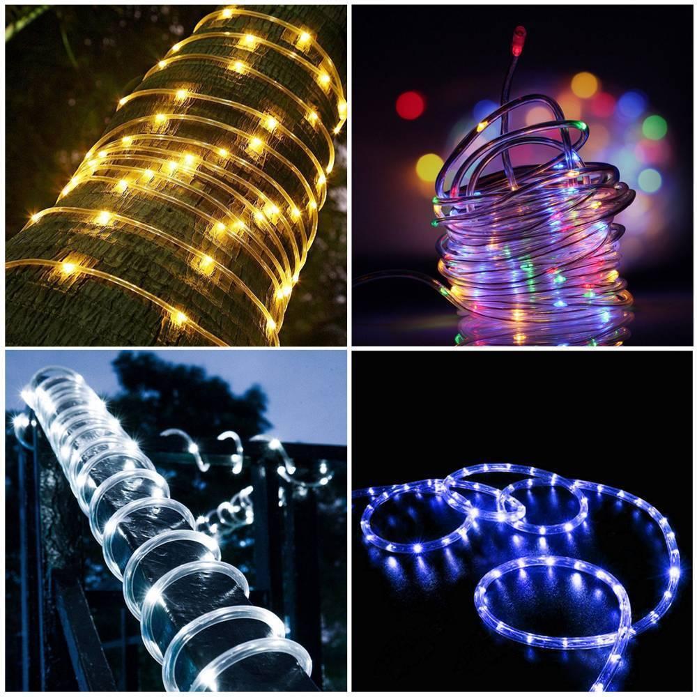 12M 100LED Waterproof Solar Power String Fairy Light Rope Tube Garden Lamp Xmas 10