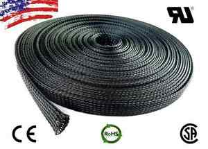 "100 FT. 2"" Black Expandable Wire Cable Sleeving Sheathing Braided Loom Tubing"