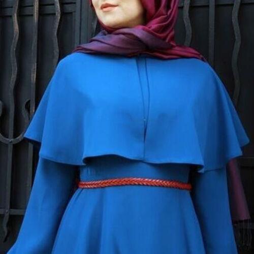 Muslim Kaftan Abaya Jilbab Islamic Women Long Sleeve Vintage Cocktail Maxi Dress