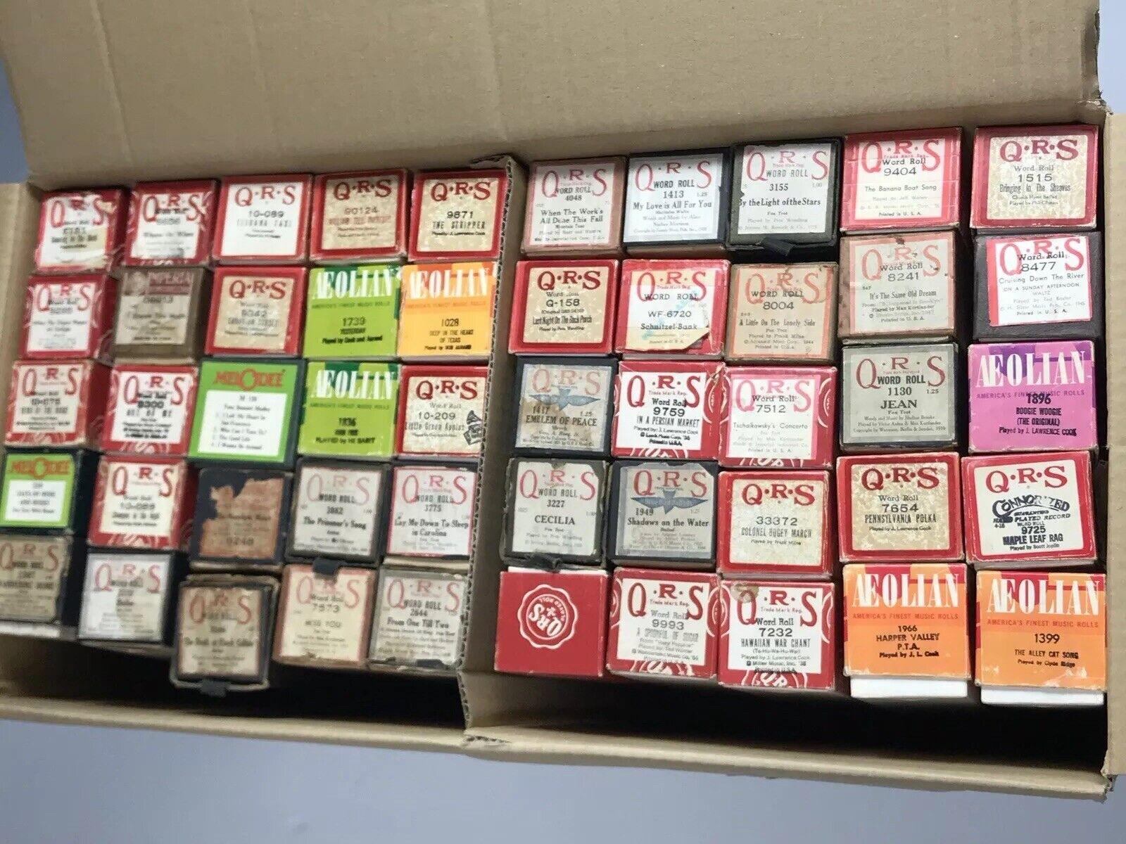 LOT OF 50 QRS AEOLIAN braun rot BOX PLAYER PIANO ROLLS