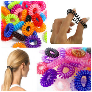 10 Spiral Hair No Tangle Bobbles Bands Trend Ponytail Style Elastics ... d8a626bba91