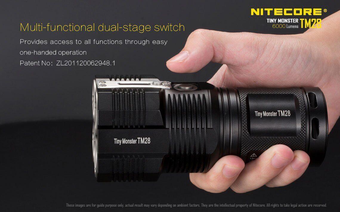 Bundle: Nitecore TM28 w/4x 6000Lm Rechargeable Flashlight w/4x TM28 3500mAh Batteries 77ddc2