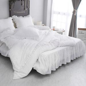 Simple-amp-Opulence-100-Stone-Washed-Linen-Shabby-Chic-Ruffled-Duvet-Cover-Set