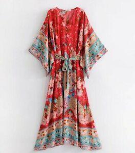 Women-Summer-Hippie-Deep-V-neck-Kimono-Sleeve-Floral-Print-Maxi-BOHO-DRESS-New