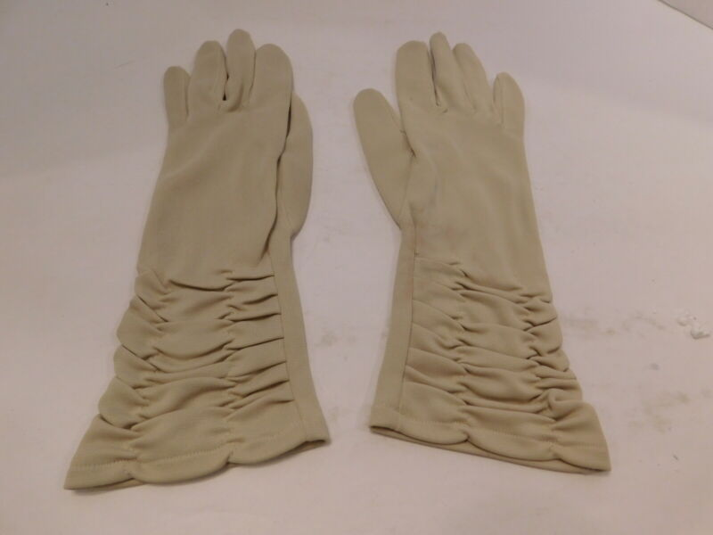 Ambitious *designer Ladies Beige Nylon Gloves Unlined Size 6- 6.5