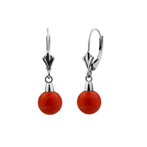 9 mm bottines femme magnifique CORAIL Ball Leverback Boucles d/'oreilles pendantes or 14K Boucles d/'oreilles Clou
