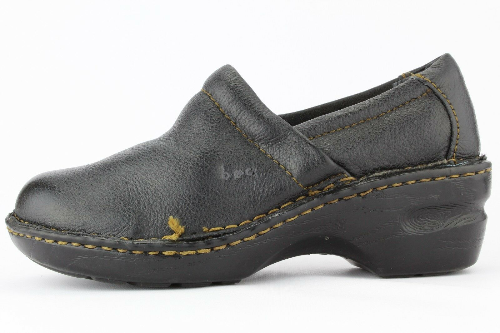BOC Born Concept Women's Women's Women's Black Leather Toby II Slip-on Clogs Size 6.5 5f7358
