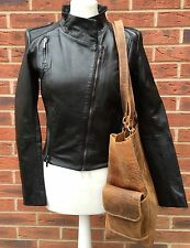 Ladies Quality Leather Biker Jacket In Size 10 Black Ex Chainstore RRP £250