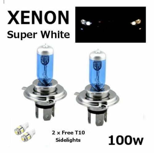H4 100w SUPERWHITE XENON 472 UPGRADE Headlight Bulbs 12v 501 LED Sidelights