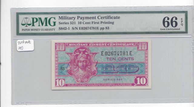 MPC Series 521  10 Cents 1st printing  PMG 66EPQ    GEM  UNC