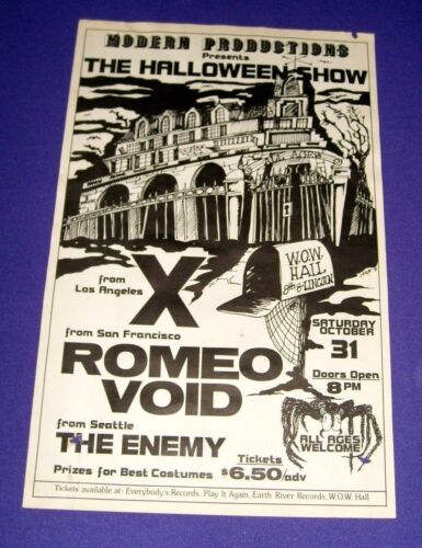 Halloween Concert Poster 11 in. x 17 in. (Oregon, 1981) Romeo Void, Enemy, X
