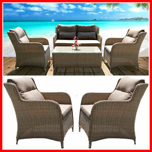 NEW-Wicker-4-Piece-Outdoor-Furniture-Set-Coffee-Table-Lounge-Setting-Armchairs