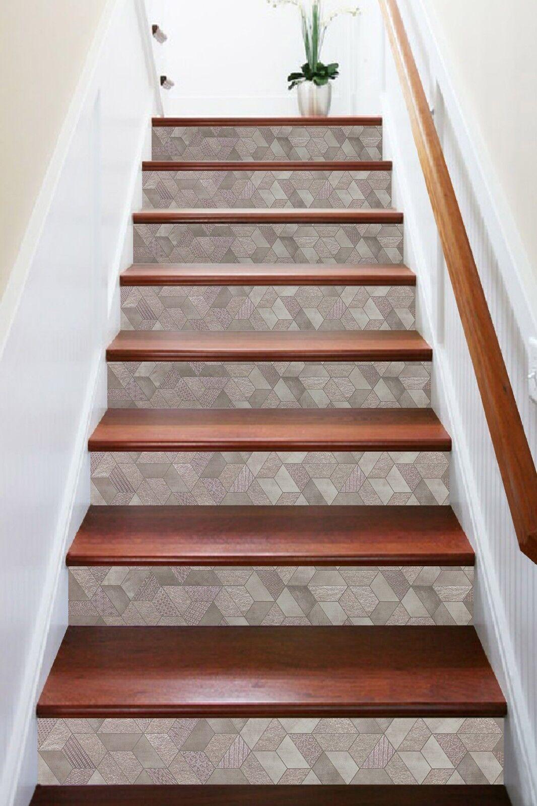 3D Hexagonal Patter 7 Tile Marble Stair Risers Photo Mural Vinyl Decal WandPapier