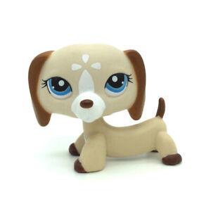 1491 Rare Littlest Pet Shop Tan Cream Dachshund Dog Blue Eyes Animal Lps Toy Ebay