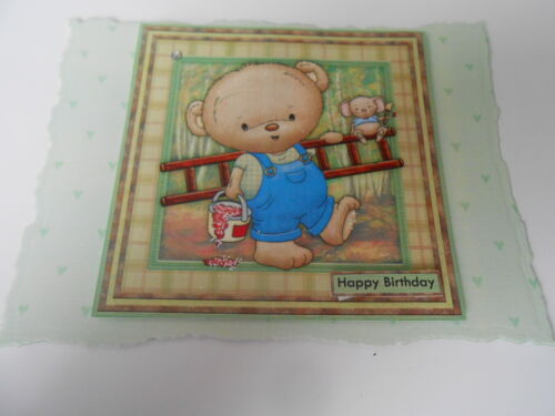 PK 2  PAINT THE TOWN RED TED EMBELLISHMENT TOPPERS FOR CARDS HAPPY BIRTHDAY