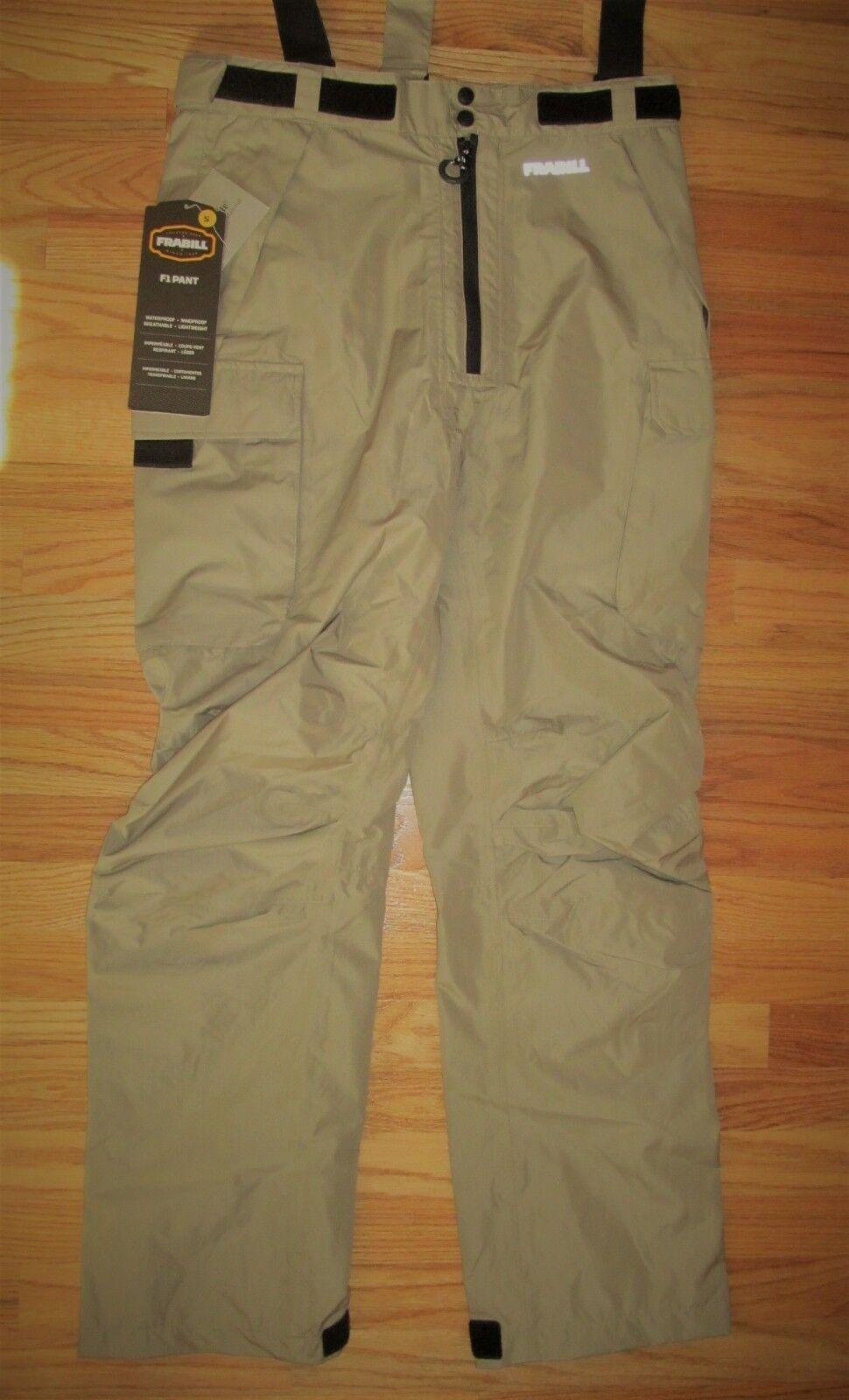 Frabill F1 Hybrid Pants, Small, Tan, water and wind proof, NWT MSRP  159. p 6756