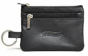 Quality-Full-Grain-Cow-Hide-Leather-Coin-Purse-with-Key-Ring-BLK-Style-11034