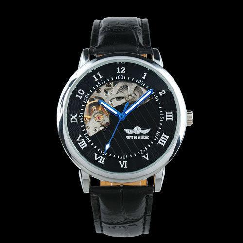 NEU Skelett Herrenuhr WINNER Black  Leder Armband Uhr mechanisch automatisch