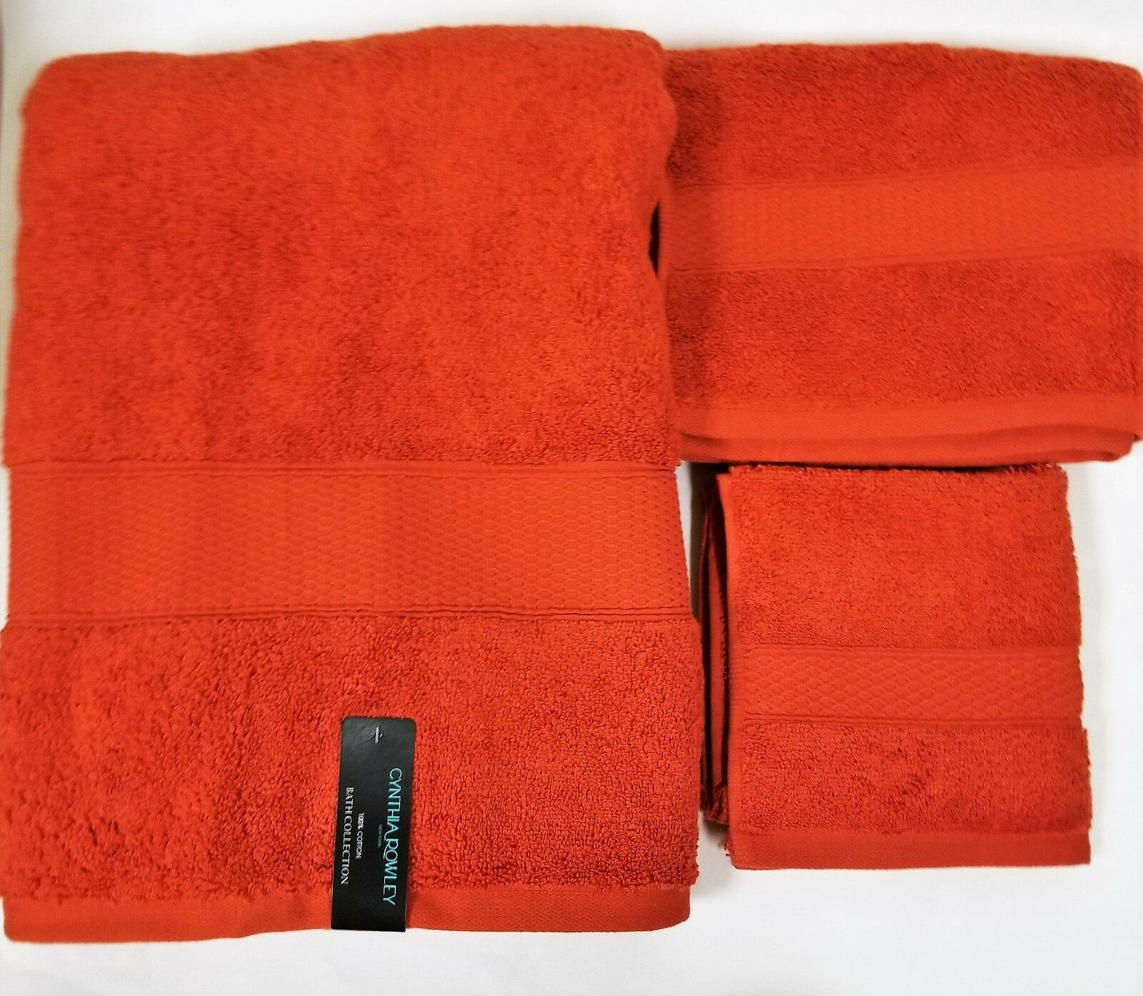 CYNTHIA ROWLEY 3 PC SET BURNT Orange,RUST 100% COTTON COTTON COTTON BATH,HAND TOWEL+WASHCLOTH 6f833a
