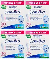 4 Pack Boiron Camilia Teething Relief, 30 Count Ea (0.034 Fl Oz Each) on Sale