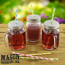 Conjunto de 4 botellas de vidrio Tarros Mason potable Fiesta Bebida Gafas + Tapa y pajas