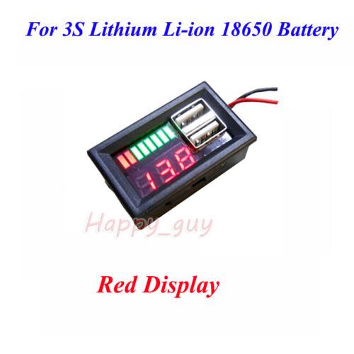 DEL Plomb Acide Batterie au lithium BMS capacité Indicateur Voltmètre Dual USB Chargeur